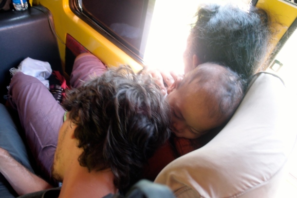 My favorite Jay moment: Him sleeping on a woman a her baby on the travel.