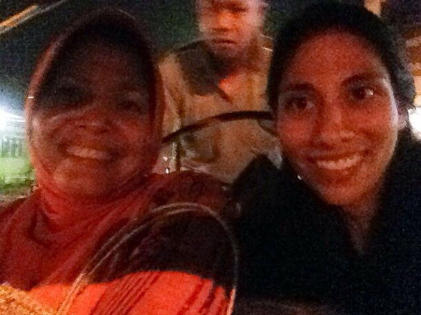 A becak selfie with my new host mother, Bu Anik.